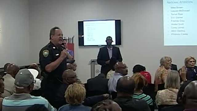 About 150 people crammed into a room at the Urban League of Palm Beach County for a meeting on relations between the community and police officers Monday night.