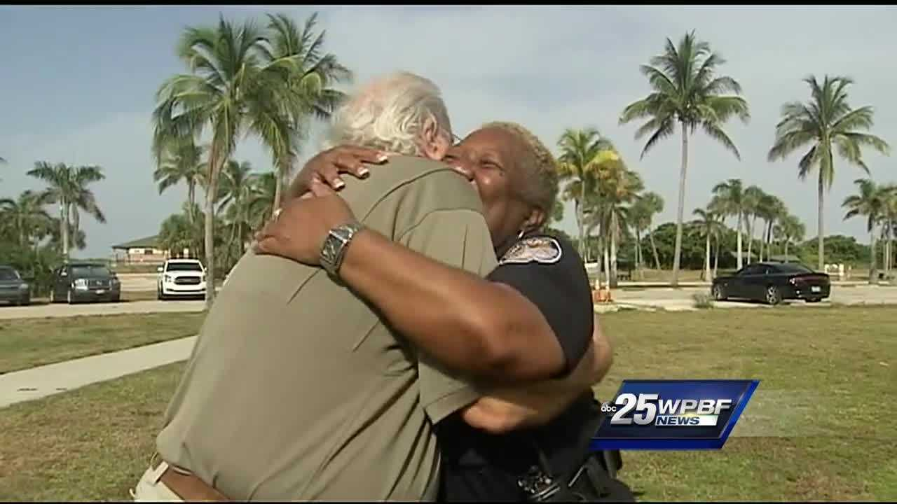 Members of the community welcomed suspended Fort Pierce police Chief Diane Hobley-Burney back with hugs at National Night Out.