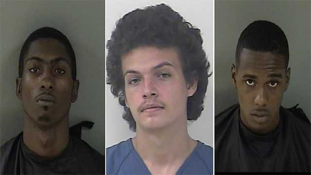 (left to right): John Crankfield, 19, Alexander Parnell, 19 and Calius Judon, 18.