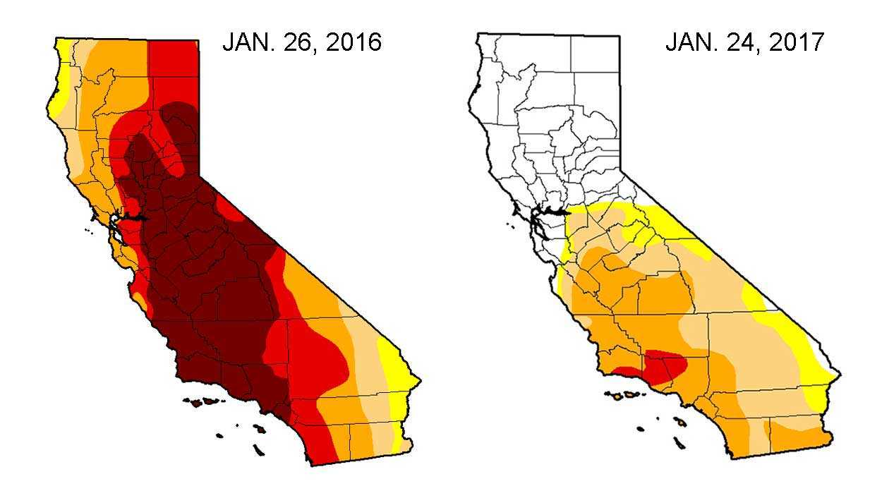 U.S. Drought Monitor map shows parts of California that are experiencing drought conditions as of Jan. 26, 2017.