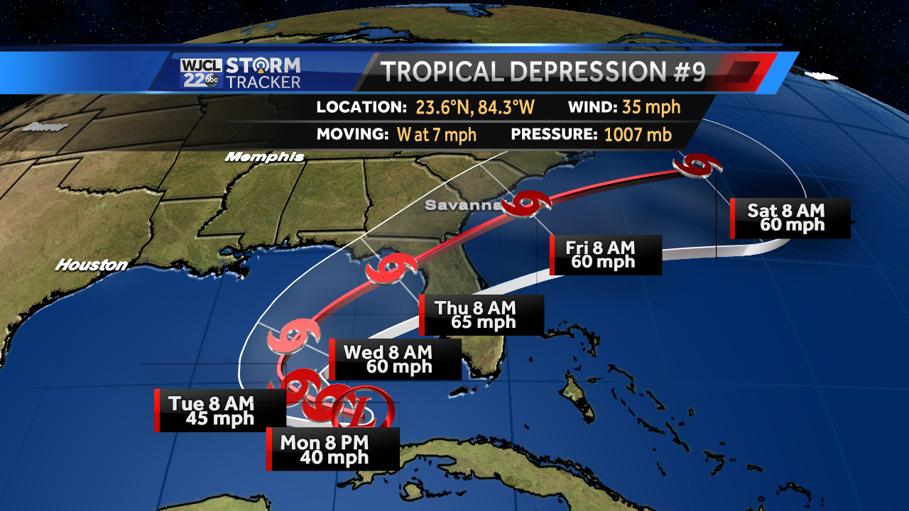 Latest on Tropical Depression Nine