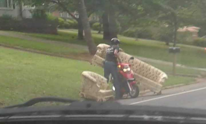 Huge couch tiny scooter Lexington man balances household find