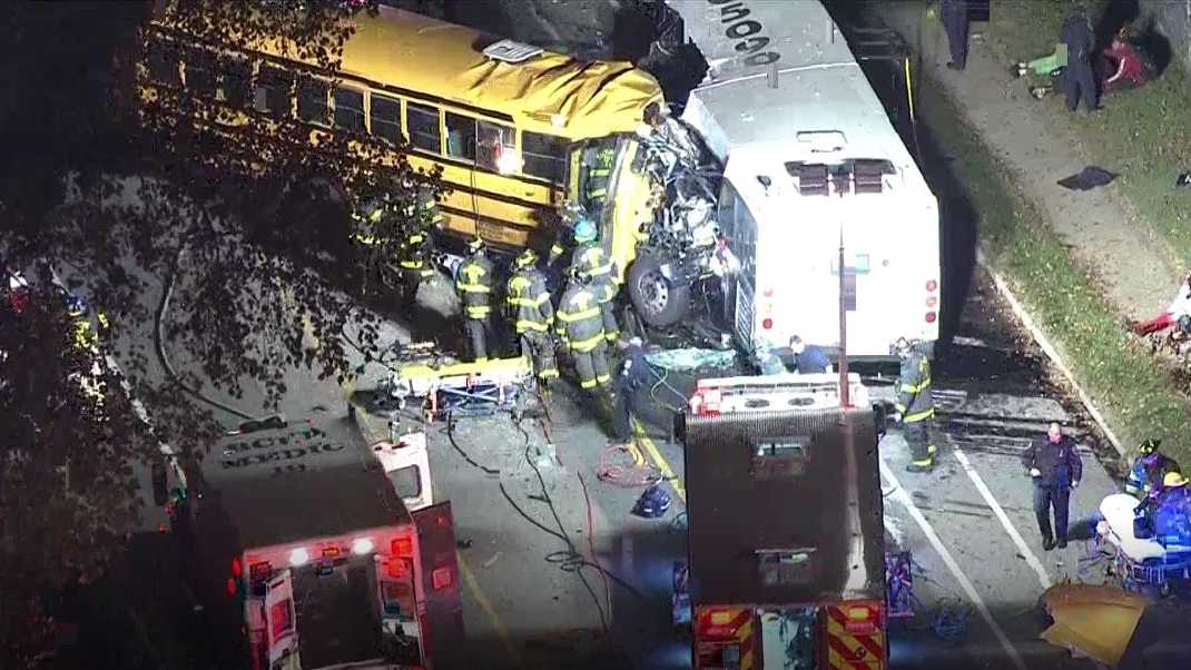 Fatal school bus commuter bus crash Baltimore