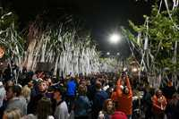 Fans celebrate by rolling Toomers Corner. Georgia at Auburn on Saturday, Nov. 11, 2017 in Auburn, Ala.