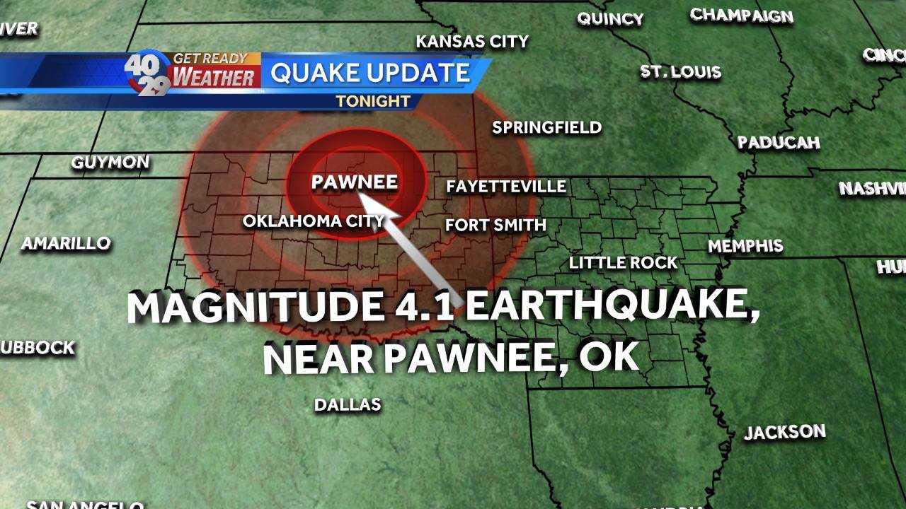Earthquake near Pawnee Oklahoma