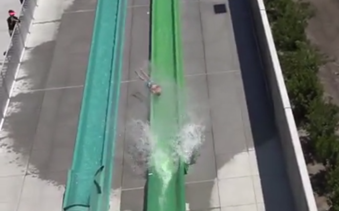 Boy is Launched Off Slide at Newly Opened Dublin Water Park
