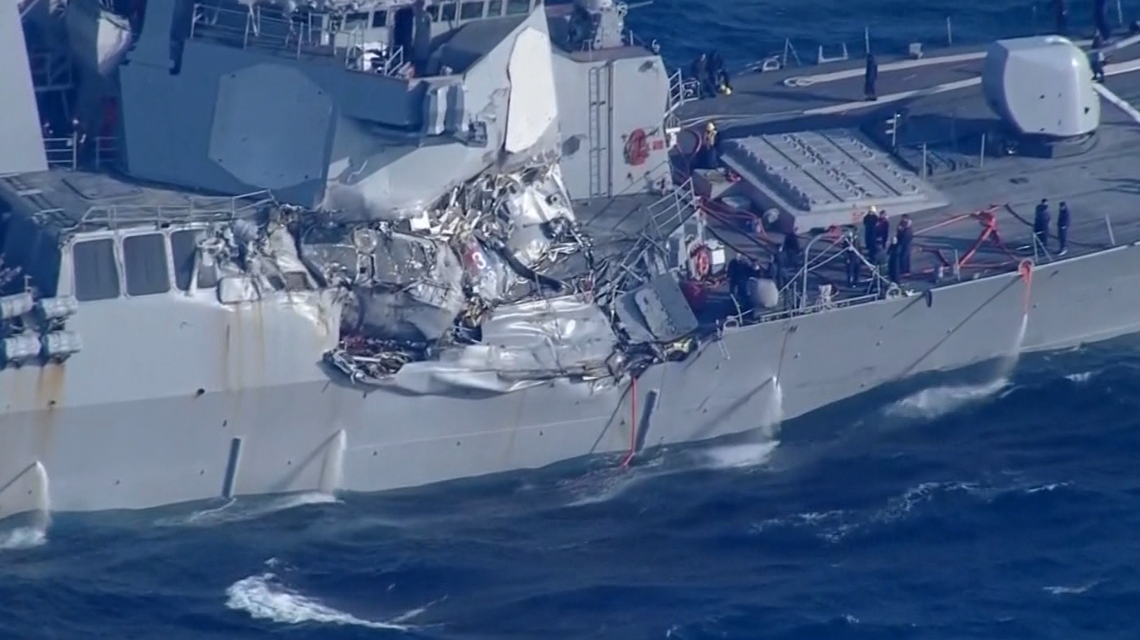 NBC: APTN provides tape playback of a U.S. Navy destroyer that collided with a merchant ship off the coast of Japan.