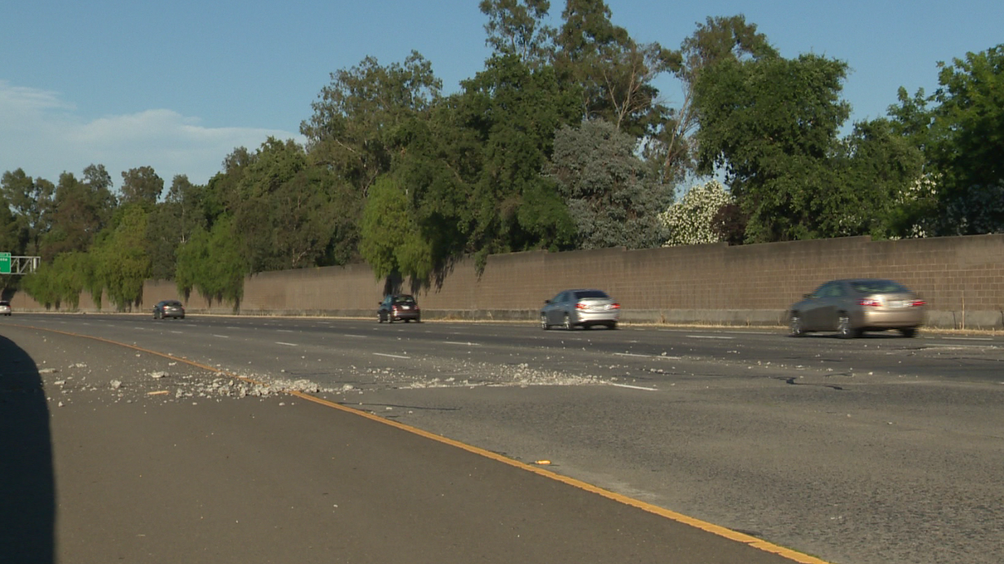 Four lanes are shut down on eastbound Highway 50 near Jefferson Boulevard after the pavement began to raise and crumble, California Highway Patrol said.