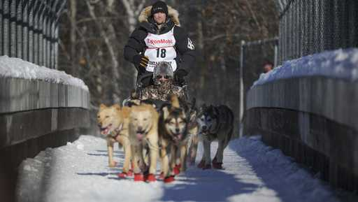 Four-time and defending champion Dallas Seavey mushes during the ceremonial start of the Iditarod Trail Sled Dog Race in Anchorage, Alaska, Saturday, March 4, 2017.