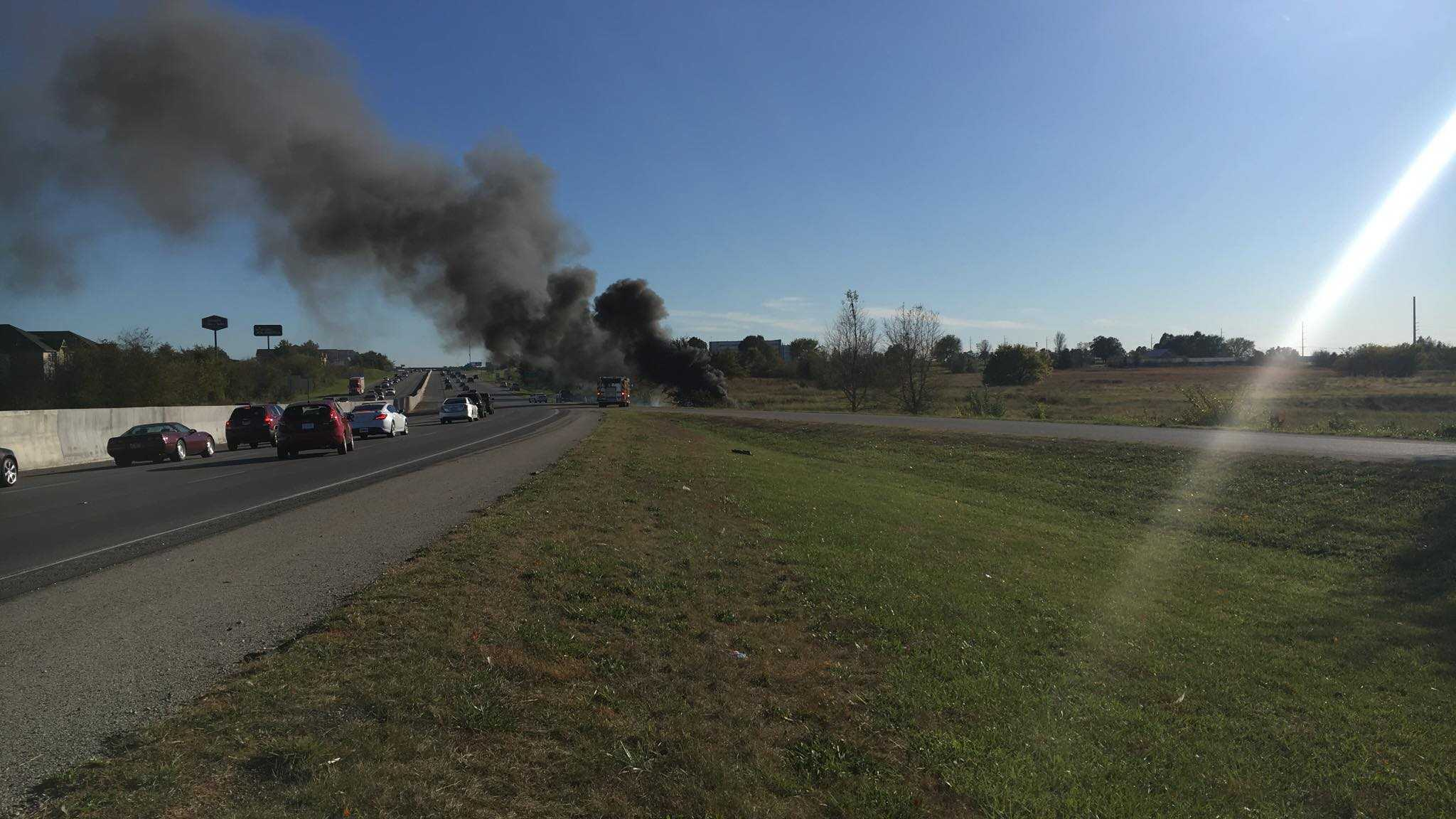 A pickup truck caught fire on I-49 SB near the Sunset Avenue exit in Springdale Monday afternoon.
