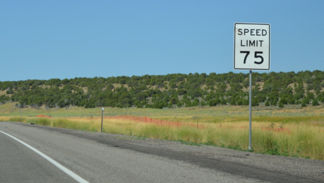 75 mph speed limit sign in Millard, Utah