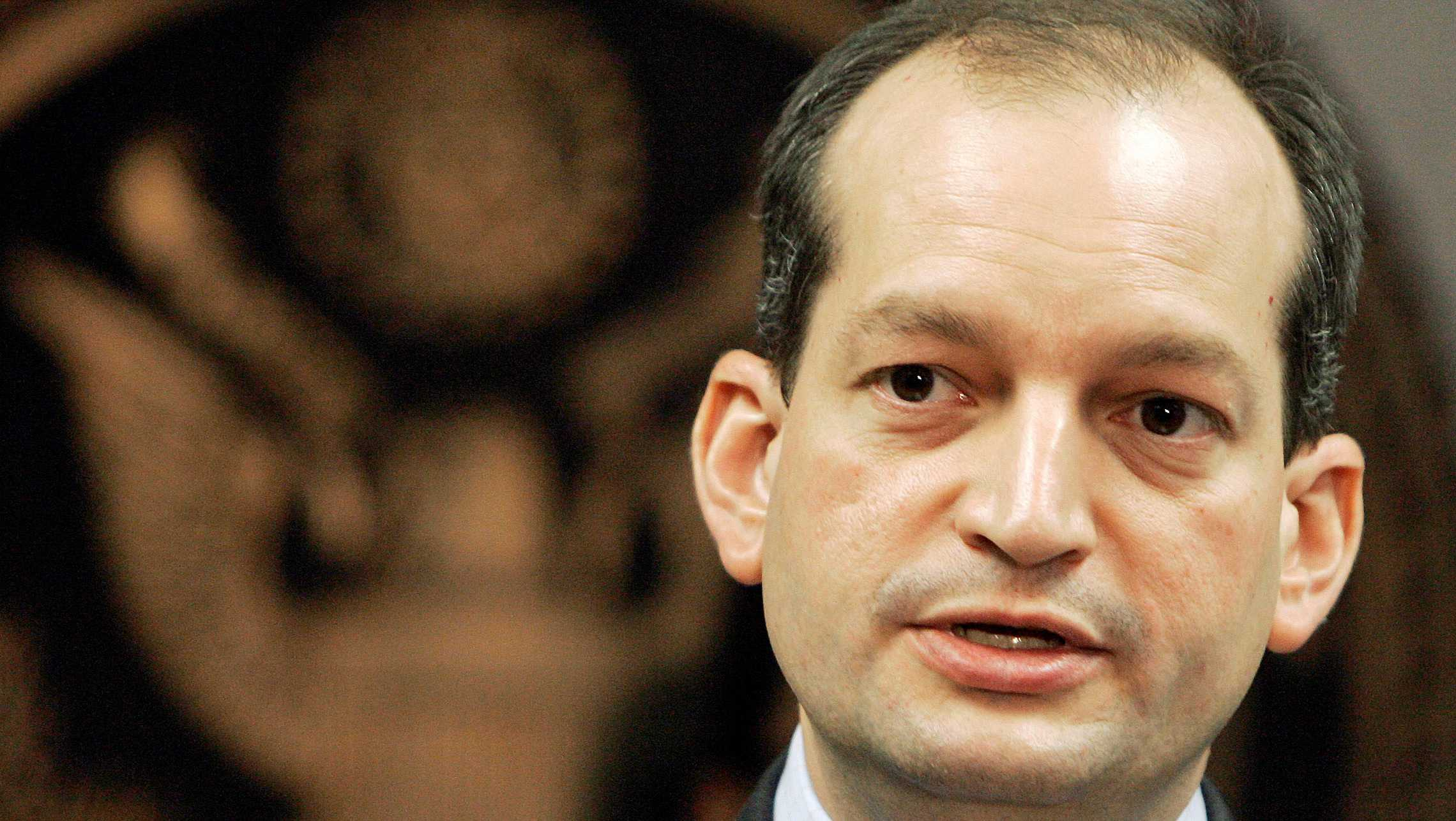 Then-U.S. Attorney R. Alexander Acosta talks to reporters during a news conference in Miami, Wednesday, Sept. 17, 2008.