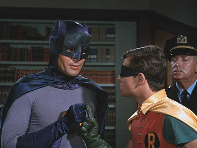 Adam West and Burt Ward as Batman and Robin