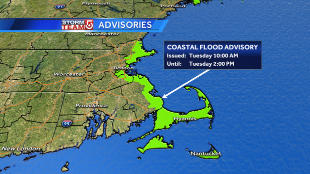 Coastal flood advisory map