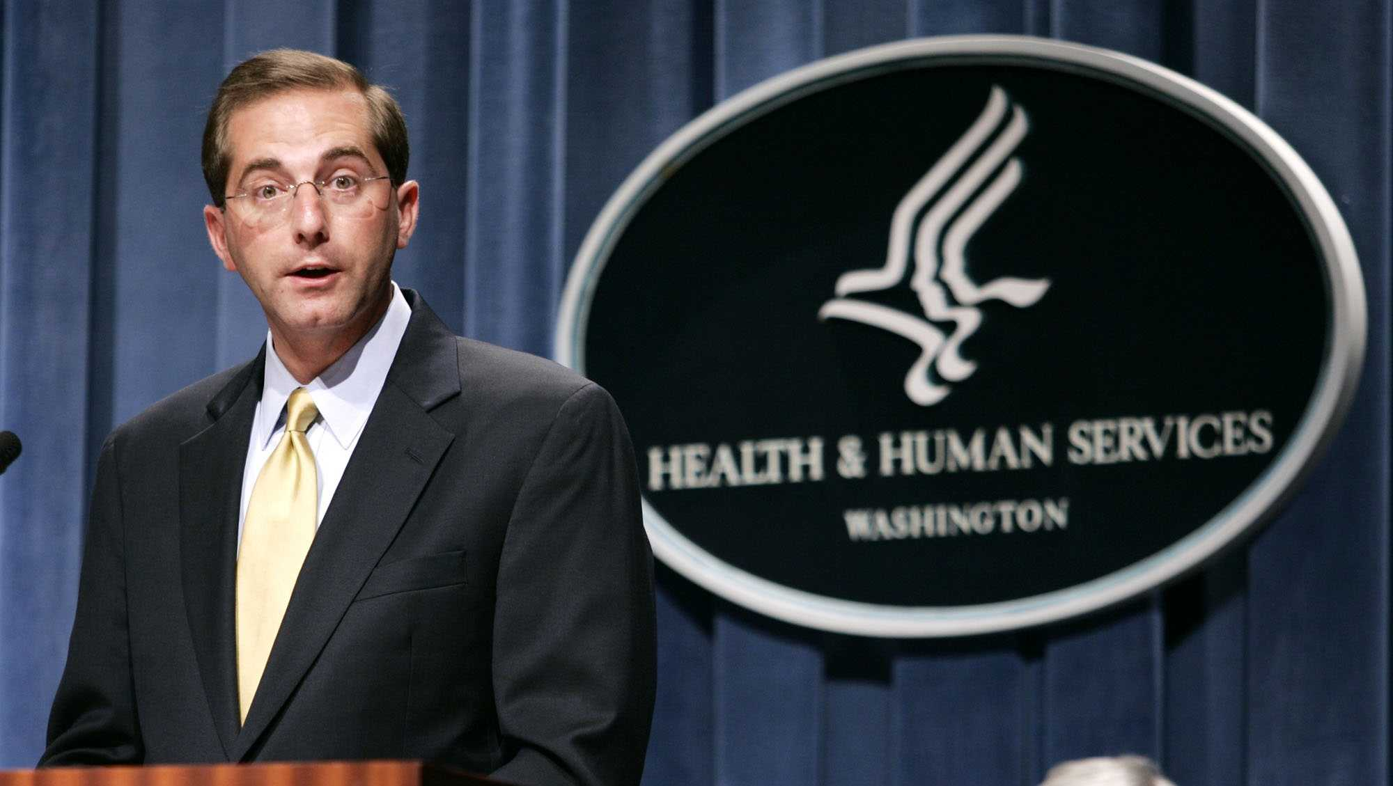 Deputy Health and Human Services Secretary Alex Azar meets reporters at the HHS Department in Washington, Thursday, June 8, 2006.