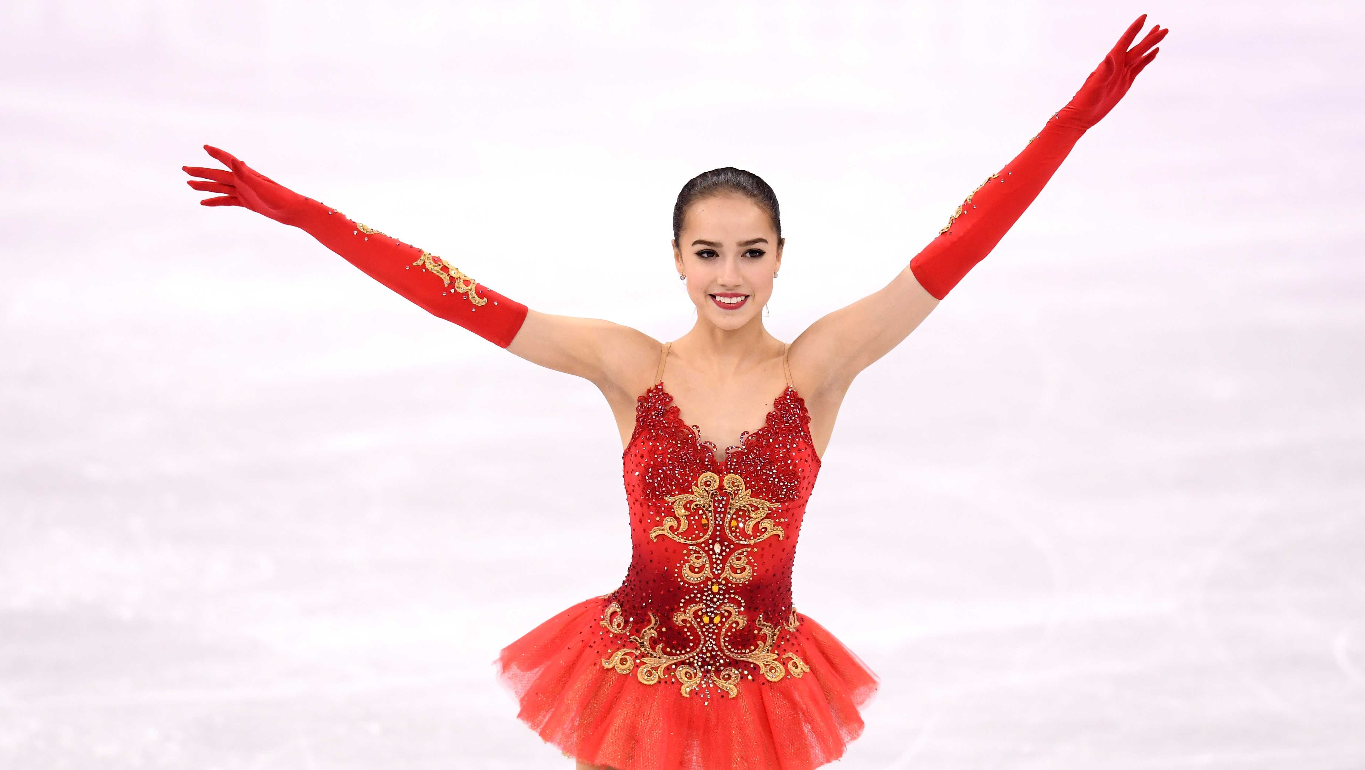Gold medal winner Alina Zagitova of Olympic Athlete from Russia celebrates during the victory ceremony for the Ladies Single Skating Free Skating on day fourteen of the PyeongChang 2018 Winter Olympic Games at Gangneung Ice Arena on February 23, 2018 in Gangneung, South Korea.