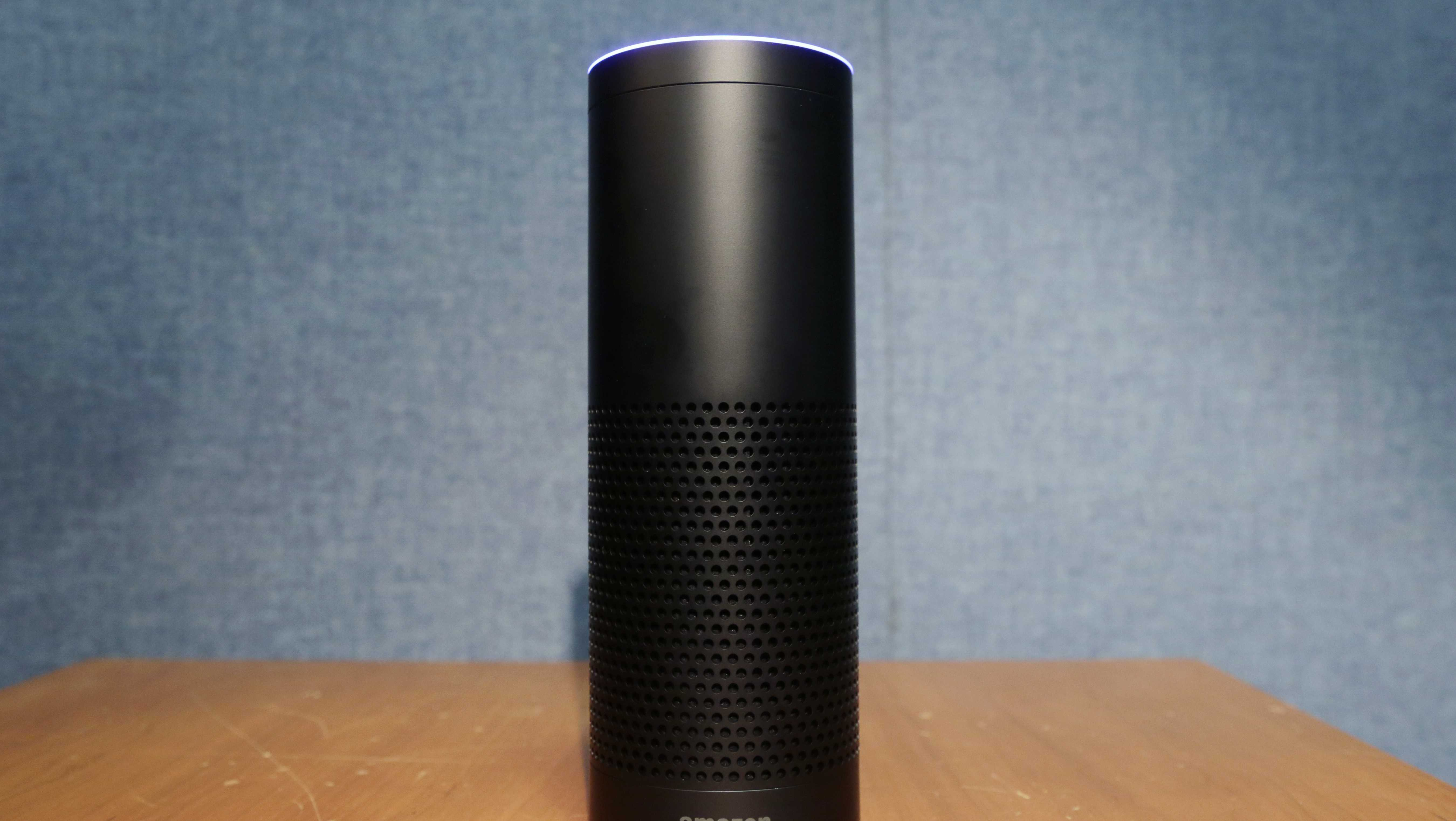 This July 29, 2015 file photo shows Amazon's Echo speaker.