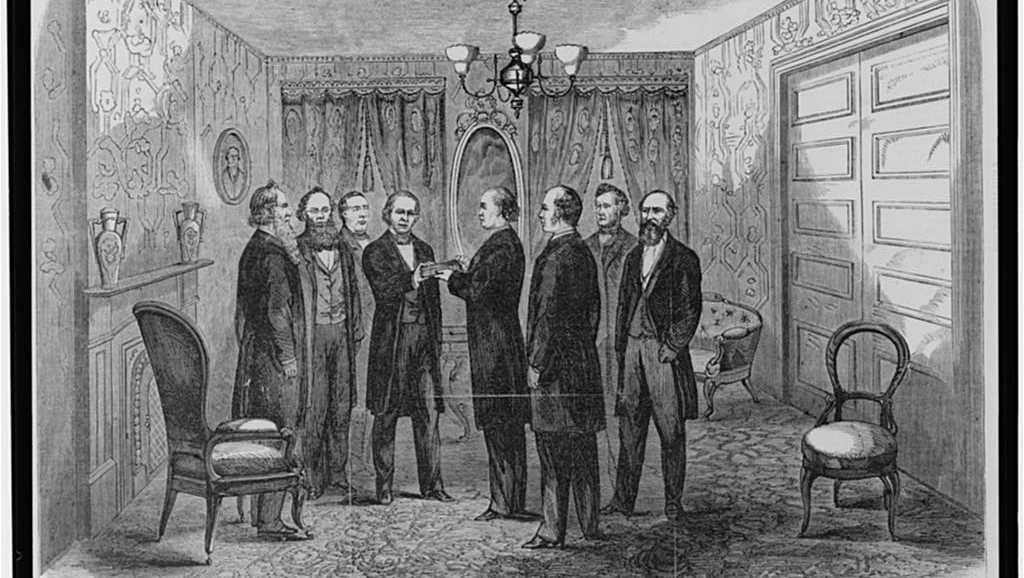 Swearing in of Andrew Johnson after Lincoln's death