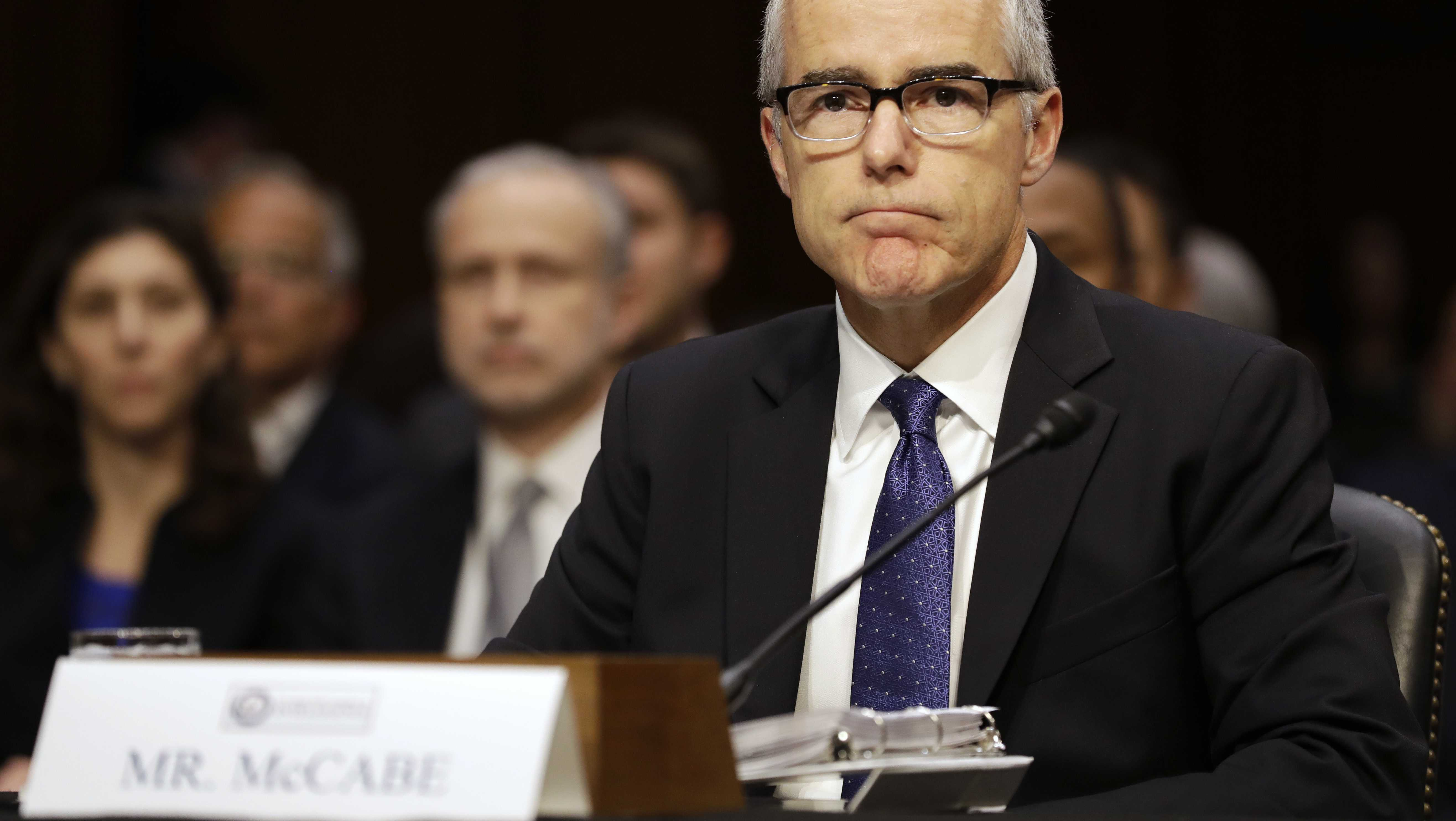 Acting FBI Director Andrew McCabe listens on Capitol Hill in Washington, Thursday, May 11, 2017, while testifying before a Senate Intelligence Committee hearing on major threats facing the U.S.