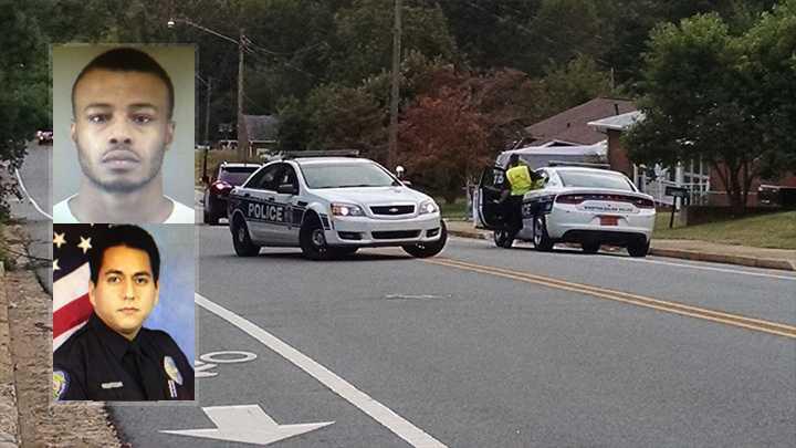 Top left: Antonio Thompson. Bottom left: Officer AB Burak. Background: Scene where officer hit by car.