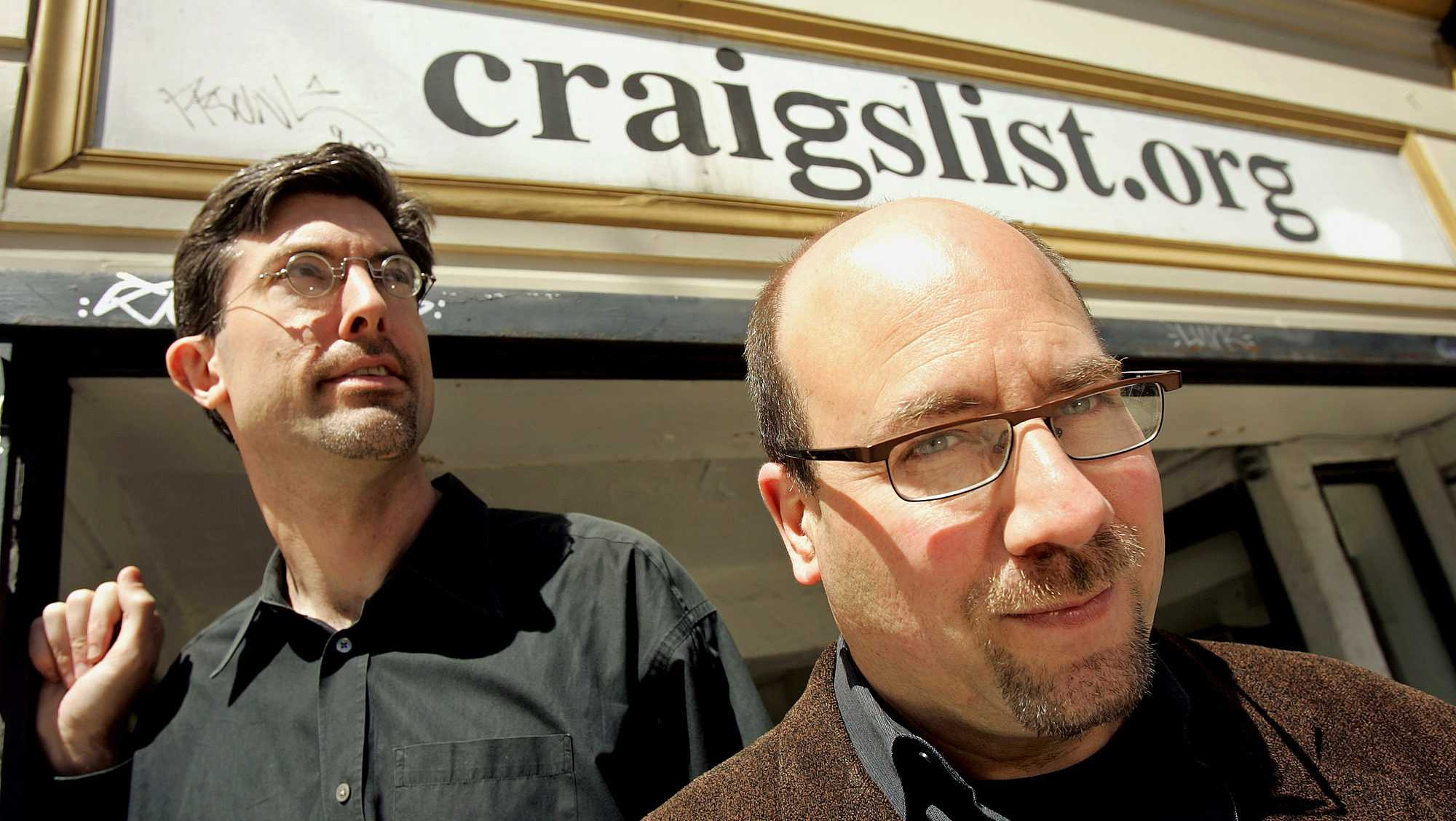 Craigslist.org CEO Jim Buckmaster, left, and founder Craig Newmark are photographed outside of their office in San Francisco on Thursday, April 14, 2005.