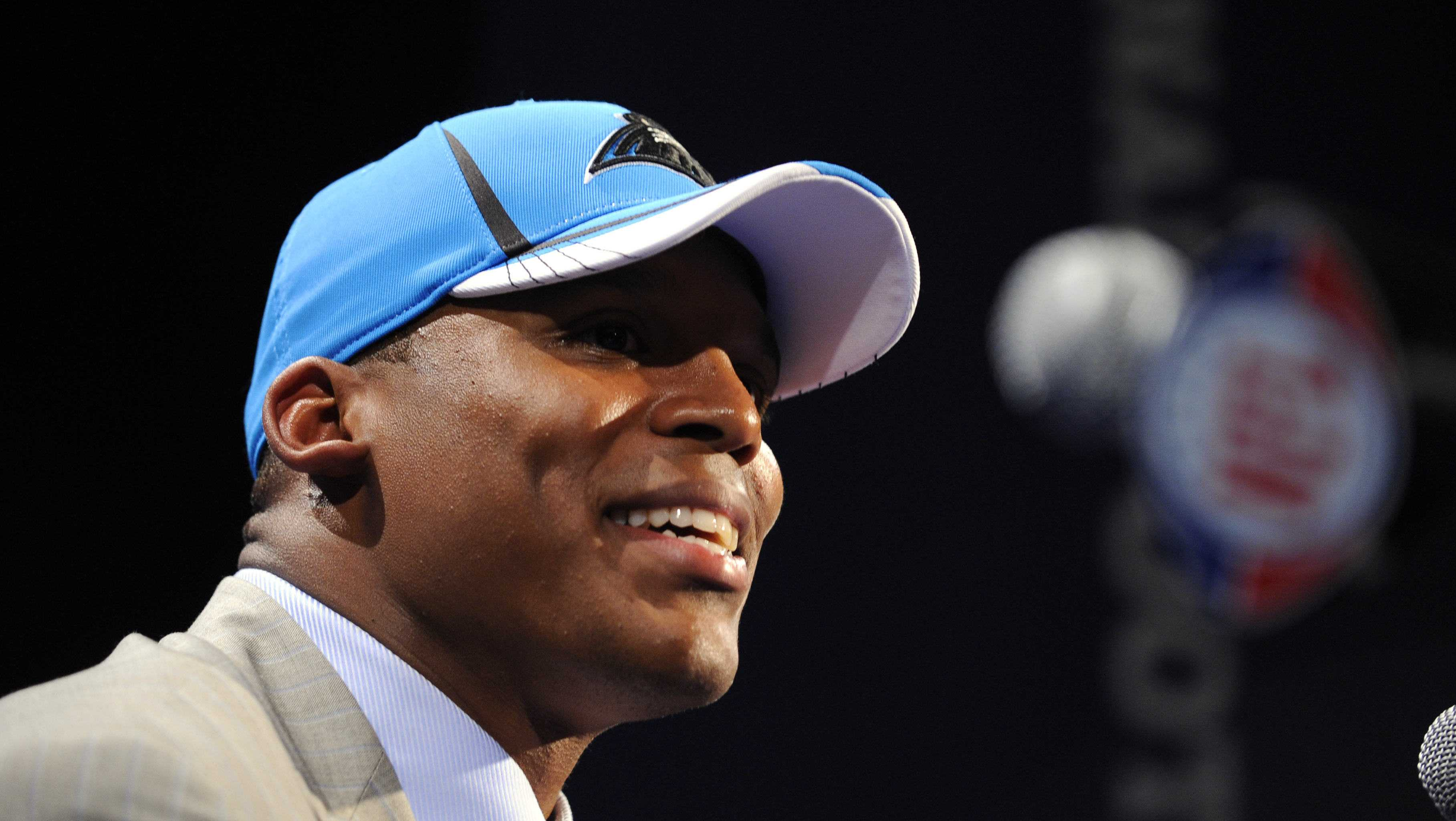 Auburn quarterback Cam Newton responds to questions during a news interview after he was selected as the first pick overall by the Carolina Panthers in the NFL football draft at Radio City Music Hall on Thursday, April 28, 2011, in New York. (AP Photo/Stephen Chernin)