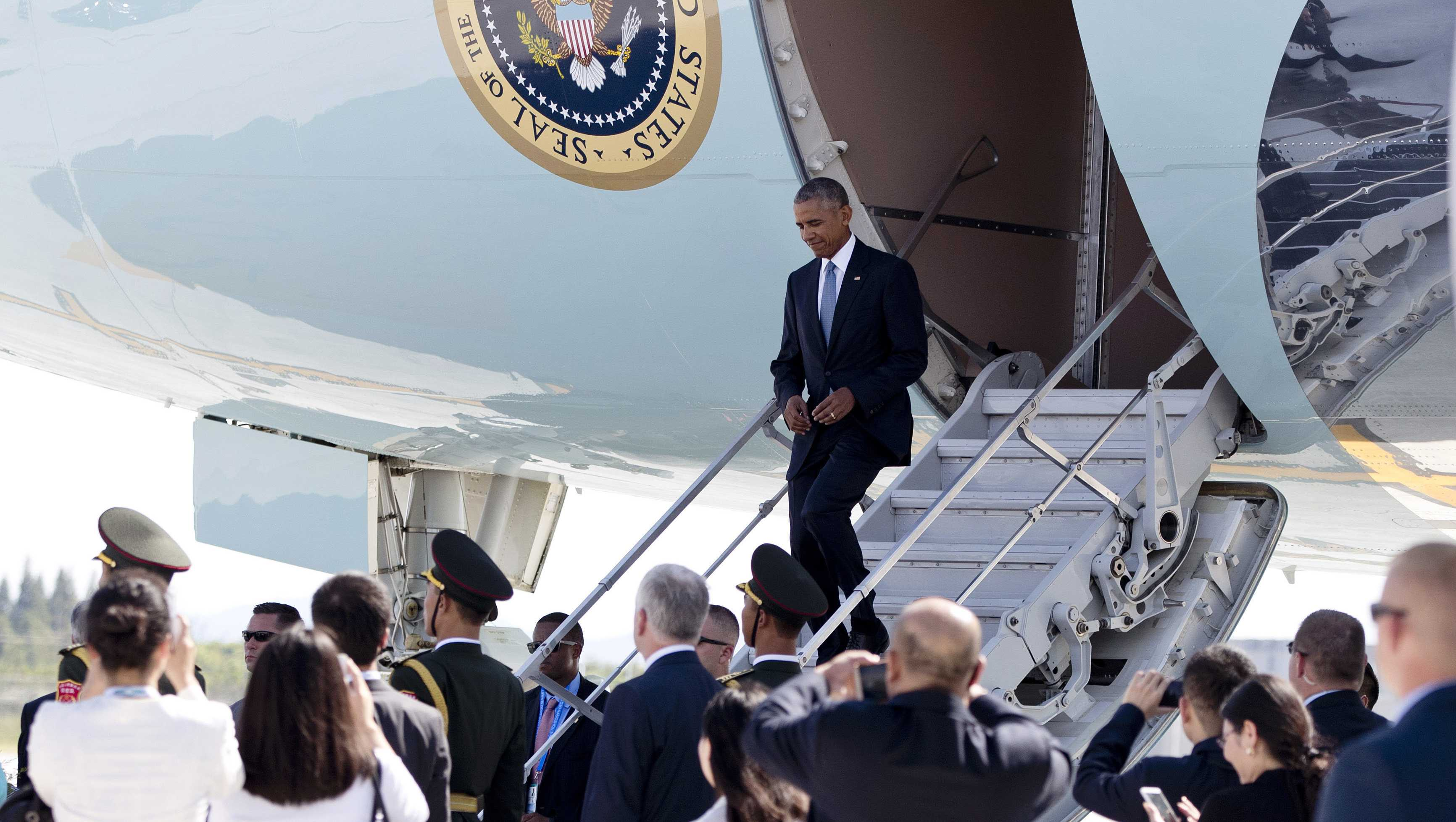 President Barack Obama arrives on Air Force One at Hangzhou Xiaoshan International Airport in Hangzhou in eastern China's Zhejiang province, Saturday, Sept. 3, 2016. President Obama hopes to highlight his administration's ongoing commitment to the G20 as the premier forum for international economic cooperation as well as the U.S. rebalance to Asia and the Pacific.