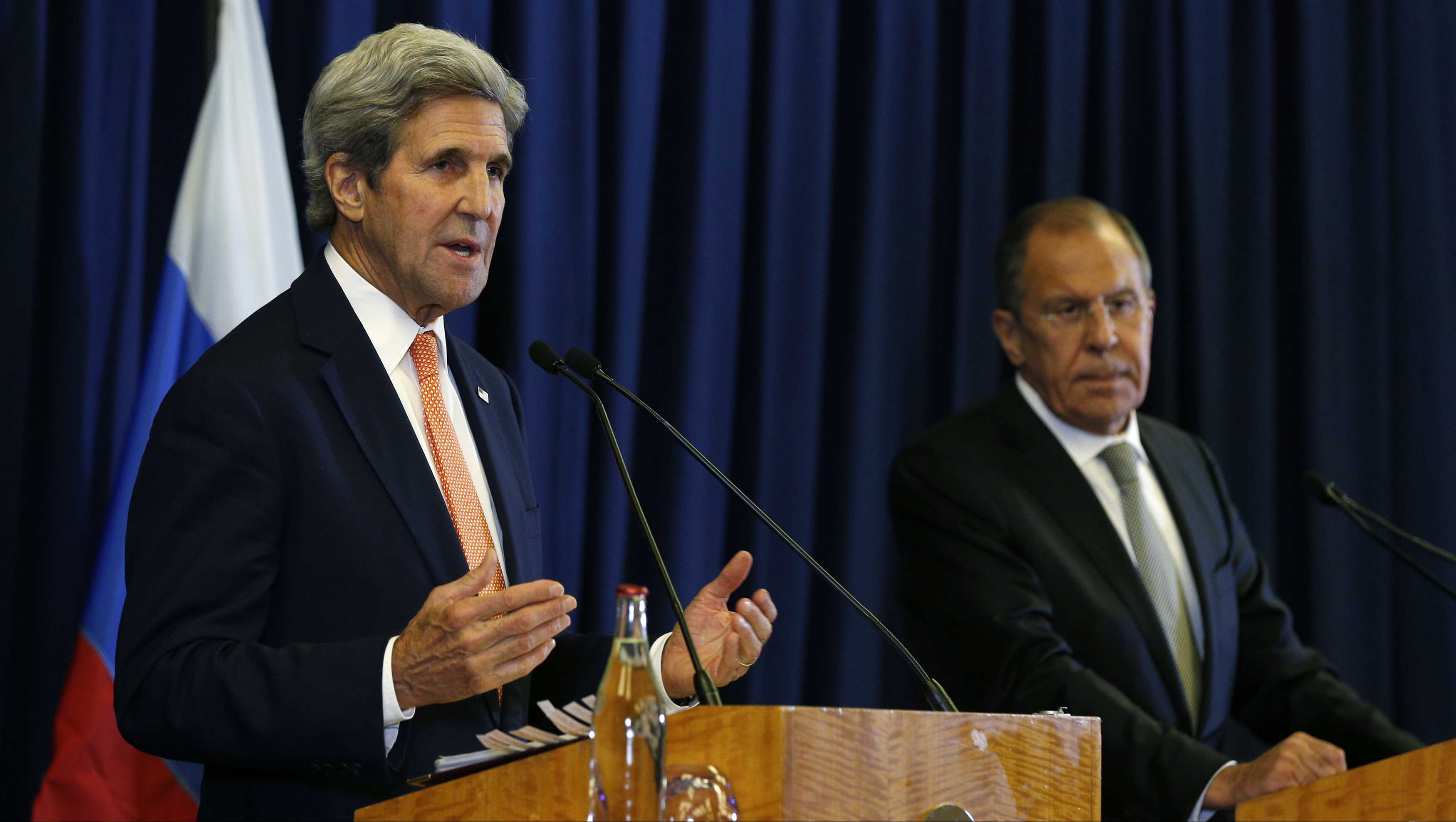 U.S. Secretary of State John Kerry and Russian Foreign Minister Sergey Lavrov hold a press conference following their meeting in Geneva, where they discussed the crisis in Syria.
