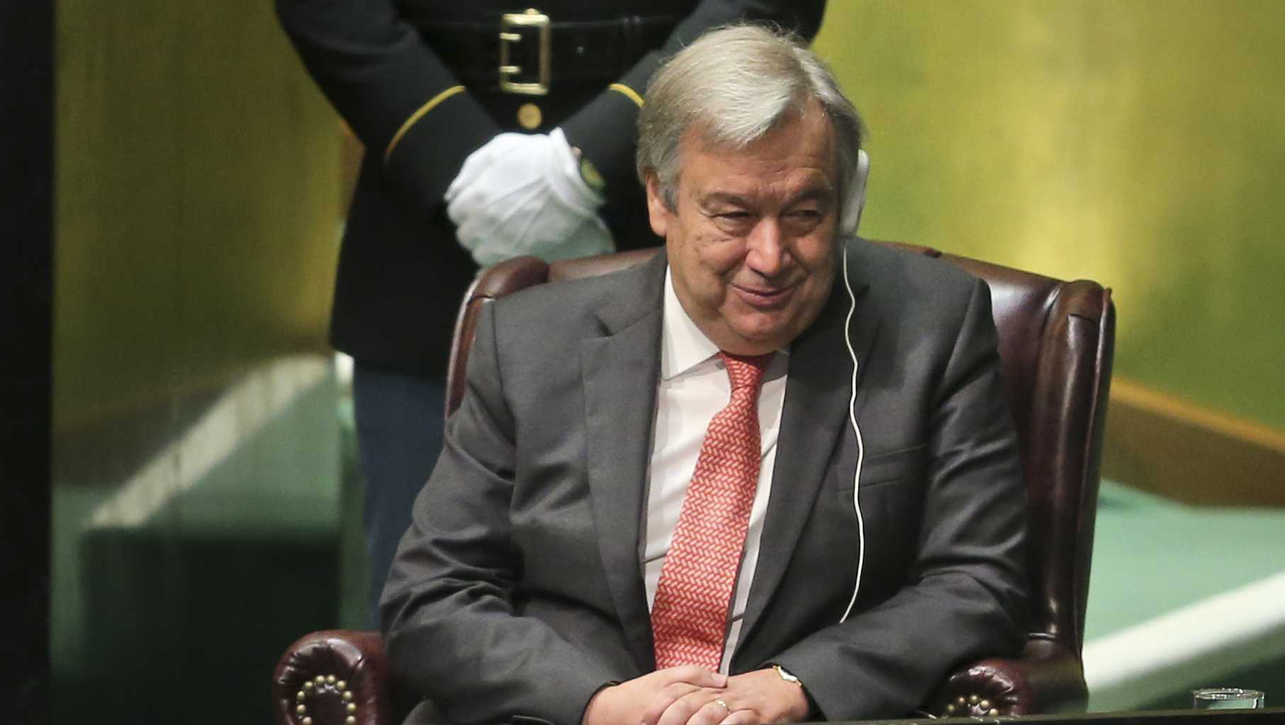 Antonio Guterres of Portugal, Secretary-General designate of the United Nations, sits on the podium during his appointment.