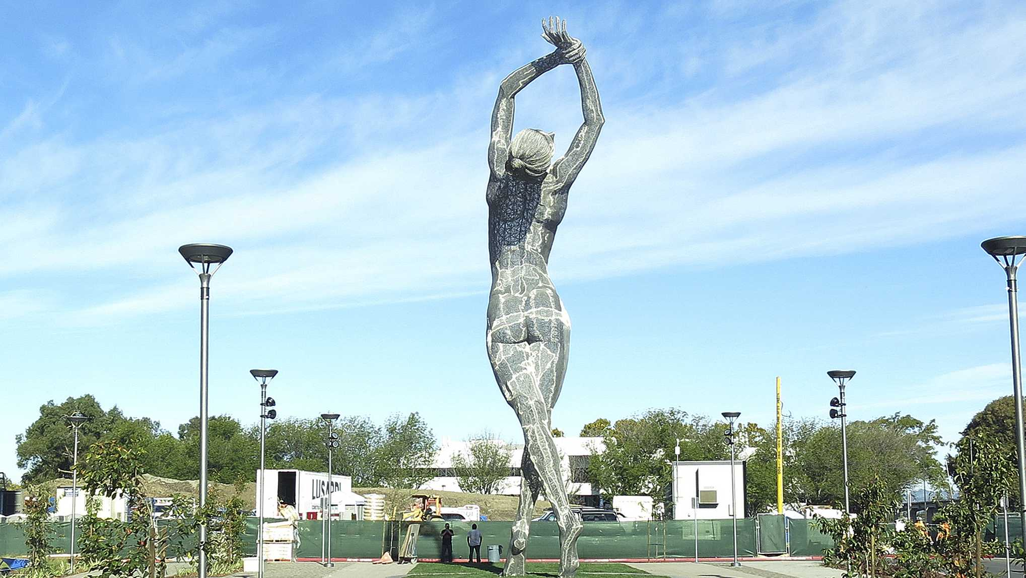A 55-foot nude statue stands in San Leandro, Calif.