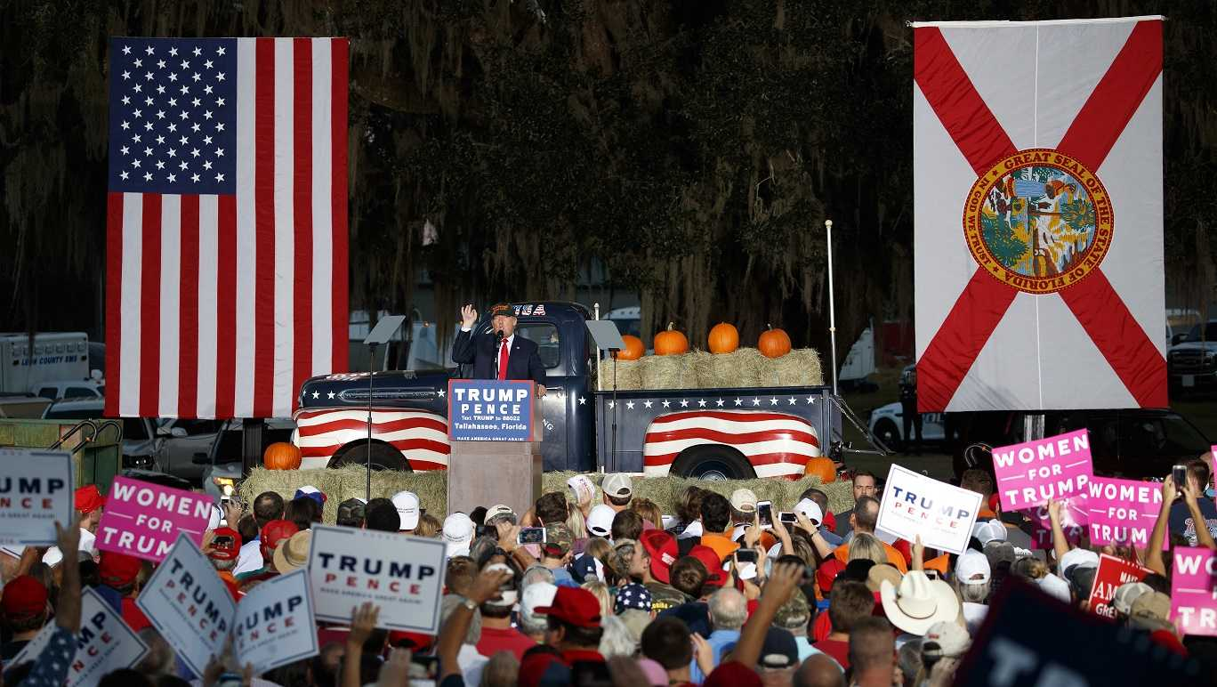 Republican presidential candidate Donald Trump speaks at a campaign rally.