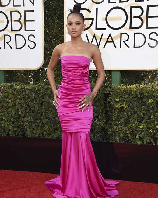 Karrueche Tran arrives at the 74th annual Golden Globe Awards at the Beverly Hilton Hotel on Sunday, Jan. 8, 2017, in Beverly Hills, Calif. (Photo by Jordan Strauss/Invision/AP)