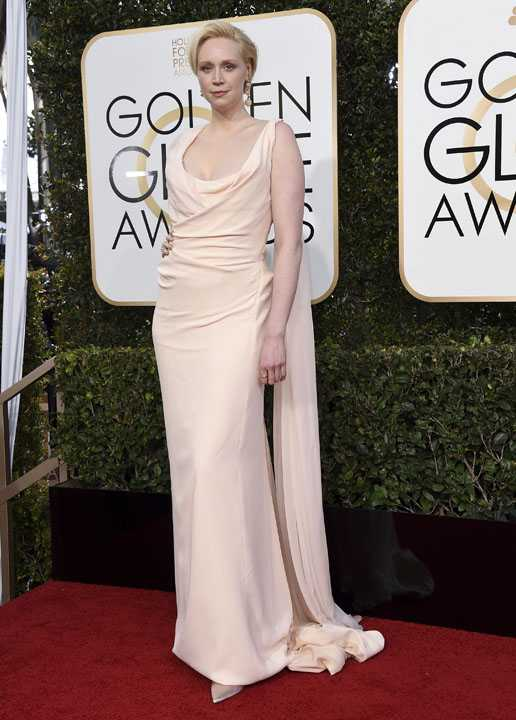 Gwendoline Christie arrives at the 74th annual Golden Globe Awards at the Beverly Hilton Hotel on Sunday, Jan. 8, 2017, in Beverly Hills, Calif. (Photo by Jordan Strauss/Invision/AP)