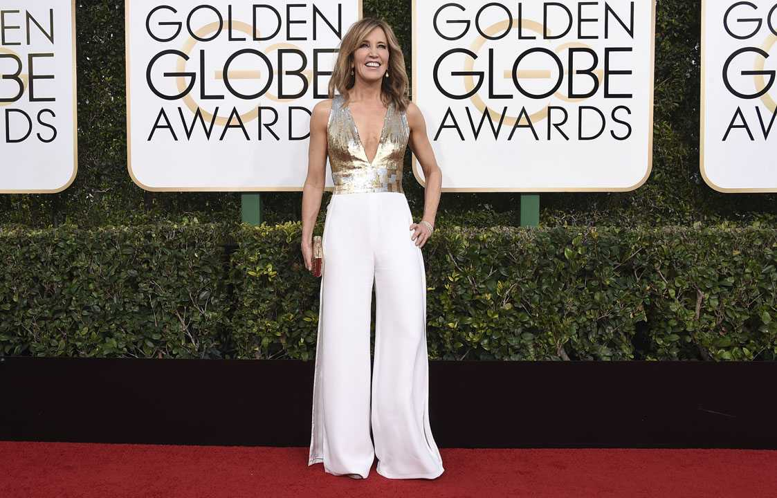 Felicity Huffman arrives at the 74th annual Golden Globe Awards at the Beverly Hilton Hotel on Sunday, Jan. 8, 2017, in Beverly Hills, Calif. (Photo by Jordan Strauss/Invision/AP)