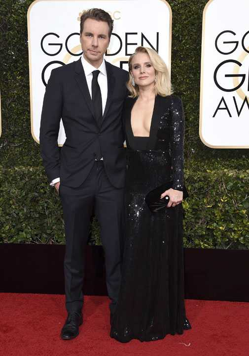 Dax Shepard,left, and Kristen Belll arrive at the 74th annual Golden Globe Awards at the Beverly Hilton Hotel on Sunday, Jan. 8, 2017, in Beverly Hills, Calif. (Photo by Jordan Strauss/Invision/AP)