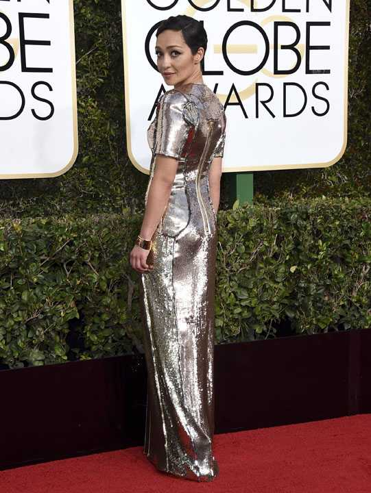 Ruth Negga arrives at the 74th annual Golden Globe Awards at the Beverly Hiltoan Hotel on Sunday, Jan. 8, 2017, in Beverly Hills, Calif. (Photo by Jordan Strauss/Invision/AP)