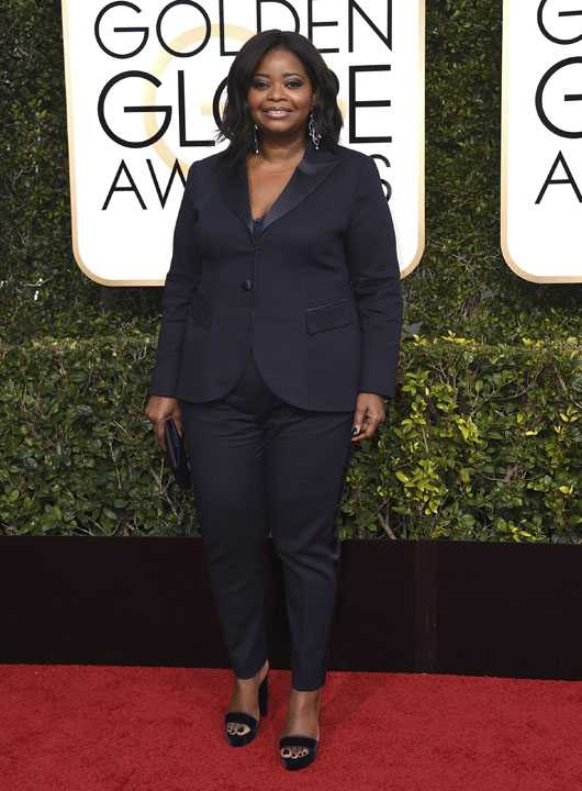 Octavia Spencer arrives at the 74th annual Golden Globe Awards at the Beverly Hilton Hotel on Sunday, Jan. 8, 2017, in Beverly Hills, Calif. (Photo by Jordan Strauss/Invision/AP)