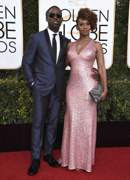 Sterling K. Brown, left, and Ryan Michelle Bathe arrive at the 74th annual Golden Globe Awards at the Beverly Hilton Hotel on Sunday, Jan. 8, 2017, in Beverly Hills, Calif. (Photo by Jordan Strauss/Invision/AP)