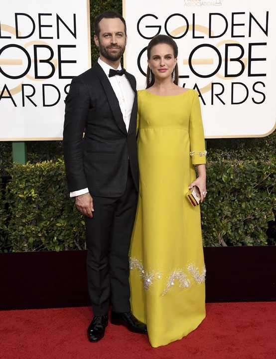 Benjamin Millepied, left, and Natalie Portman arrive at the 74th annual Golden Globe Awards at the Beverly Hilton Hotel on Sunday, Jan. 8, 2017, in Beverly Hills, Calif. (Photo by Jordan Strauss/Invision/AP)