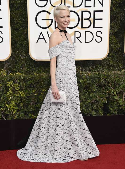 Michelle Williams arrives at the 74th annual Golden Globe Awards at the Beverly Hilton Hotel on Sunday, Jan. 8, 2017, in Beverly Hills, Calif. (Photo by Jordan Strauss/Invision/AP)