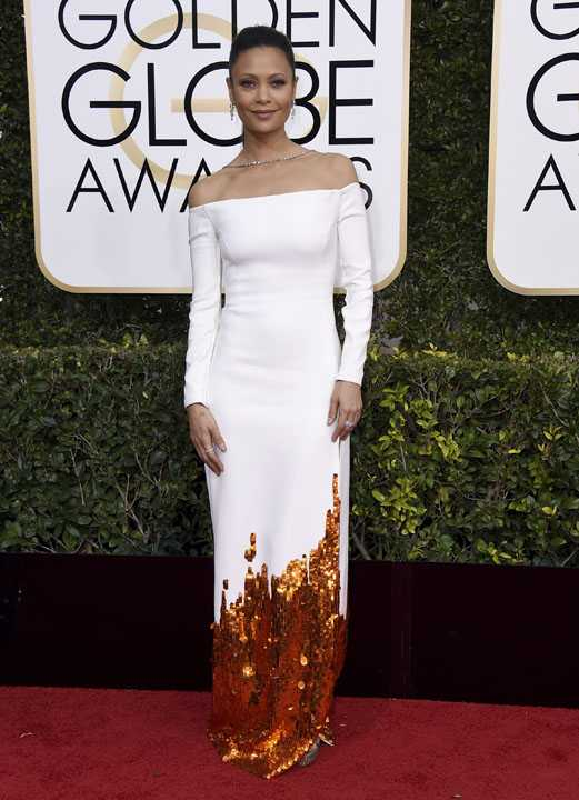 Thandie Newton arrives at the 74th annual Golden Globe Awards at the Beverly Hilton Hotel on Sunday, Jan. 8, 2017, in Beverly Hills, Calif. (Photo by Jordan Strauss/Invision/AP)