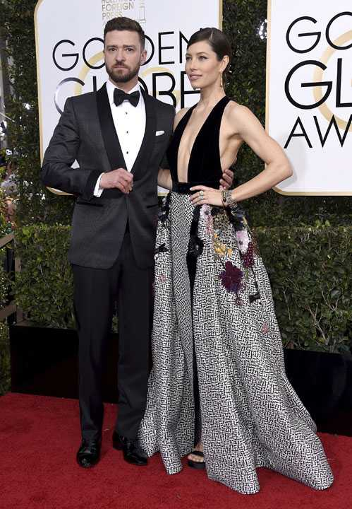 Justin Timberlake, left, and Jessica Biel arrive at the 74th annual Golden Globe Awards at the Beverly Hilton Hotel on Sunday, Jan. 8, 2017, in Beverly Hills, Calif. (Photo by Jordan Strauss/Invision/AP)