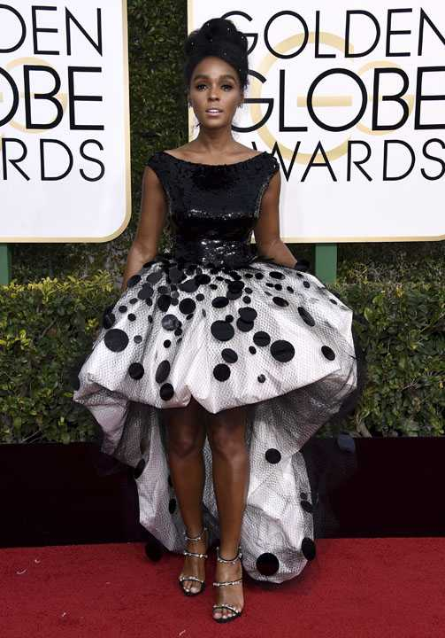 Janelle Monae arrives at the 74th annual Golden Globe Awards at the Beverly Hilton Hotel on Sunday, Jan. 8, 2017, in Beverly Hills, Calif. (Photo by Jordan Strauss/Invision/AP)
