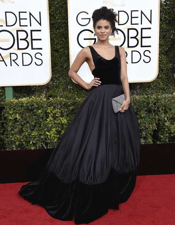 Zazie Beetz arrives at the 74th annual Golden Globe Awards at the Beverly Hilton Hotel on Sunday, Jan. 8, 2017, in Beverly Hills, Calif. (Photo by Jordan Strauss/Invision/AP)