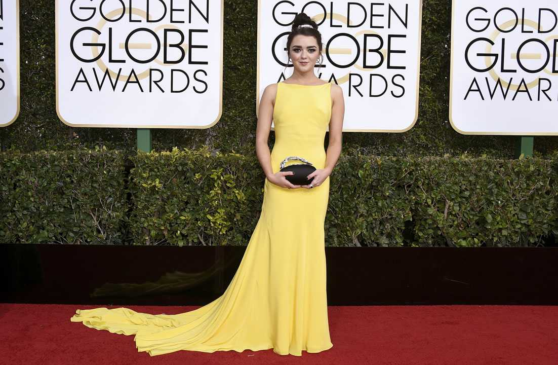 Maisie Williams arrives at the 74th annual Golden Globe Awards at the Beverly Hilton Hotel on Sunday, Jan. 8, 2017, in Beverly Hills, Calif. (Photo by Jordan Strauss/Invision/AP)