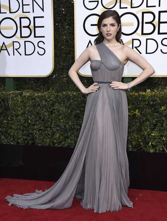 Anna Kendrick arrives at the 74th annual Golden Globe Awards at the Beverly Hilton Hotel on Sunday, Jan. 8, 2017, in Beverly Hills, Calif. (Photo by Jordan Strauss/Invision/AP)