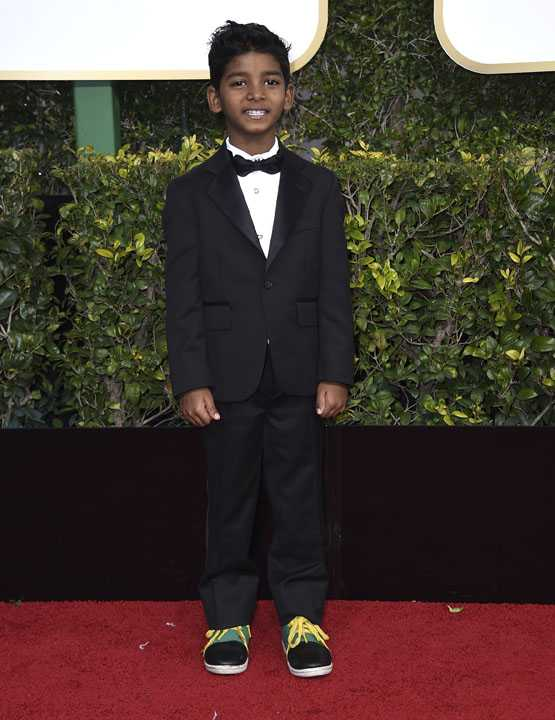 Sunny Pawar arrives at the 74th annual Golden Globe Awards at the Beverly Hilton Hotel on Sunday, Jan. 8, 2017, in Beverly Hills, Calif. (Photo by Jordan Strauss/Invision/AP)
