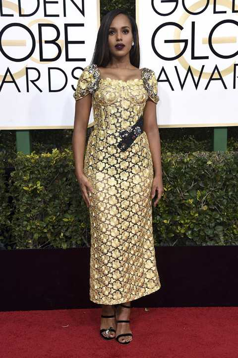 Kerry Washington arrives at the 74th annual Golden Globe Awards at the Beverly Hilton Hotel on Sunday, Jan. 8, 2017, in Beverly Hills, Calif. (Photo by Jordan Strauss/Invision/AP)