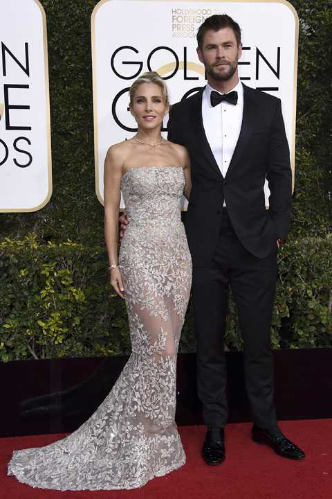 Elsa Pataky, left, and Chris Hemsworth arrive at the 74th annual Golden Globe Awards at the Beverly Hilton Hotel on Sunday, Jan. 8, 2017, in Beverly Hills, Calif. (Photo by Jordan Strauss/Invision/AP)