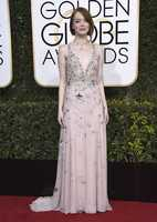 Emma Stone arrives at the 74th annual Golden Globe Awards at the Beverly Hilton Hotel on Sunday, Jan. 8, 2017, in Beverly Hills, Calif. (Photo by Jordan Strauss/Invision/AP)